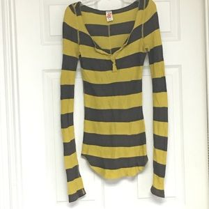 Free People Striped Lightweight Thermal style Top